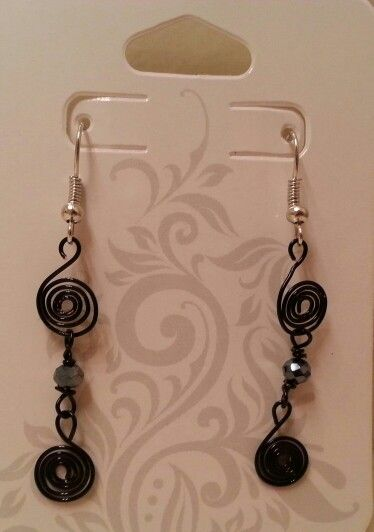 Black swirls w/black bead