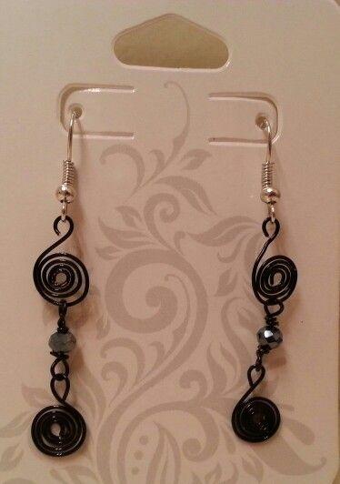 Black swirls w/black bead