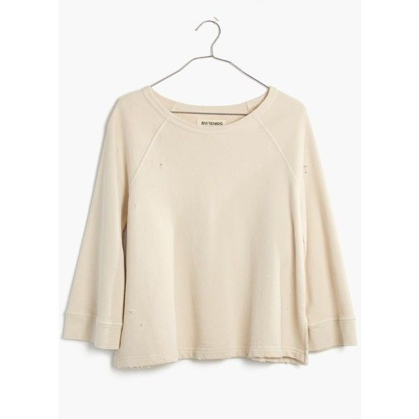 MADEWELL Rivet & Thread Distressed Bell-Sleeve Sweatshirt ($98) ❤ liked on Polyvore featuring tops, hoodies, sweatshirts, aztec, vintage tops, aztec top, slouchy tops, flared sleeve top and madewell