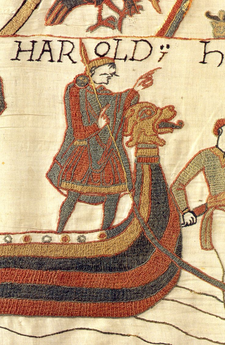 """An image of King Harold from the Bayeux Tapestry ... embroidered more than 925 years ago, the tapestry is nearly 230' long by 20"""" wide, celebrating events prior, during and after the Norman invasion of England in 1066, including the Battle of Hastings and the coronation of William the Conqueror as England's new king."""