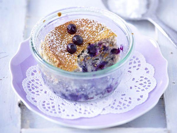 Heidelbeer-Kuchen im Glas