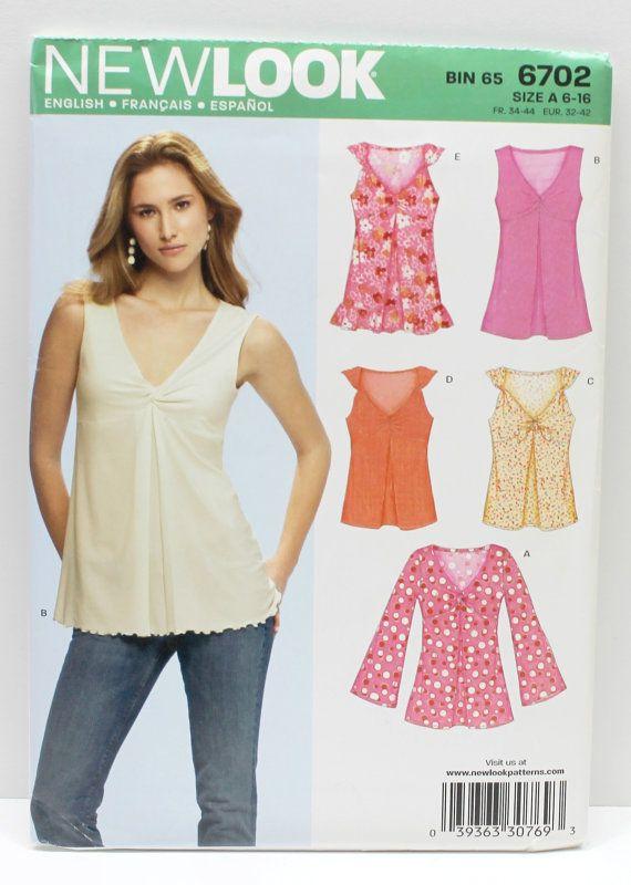woman new look pattern summer tops no 6702,bin 65,Size A 6-16, Eur:32-42,summer tops,women tops,sewing pattern,new look pattern,