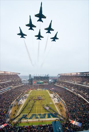 U.S. Navy Blue Angels Flyover before the  National Collegiate Athletic Association (NCAA) football game between the U.S. Naval Academy (Navy) and the U.S. Military Academy (Army) at Lincoln Financial Field in Philadelphia.