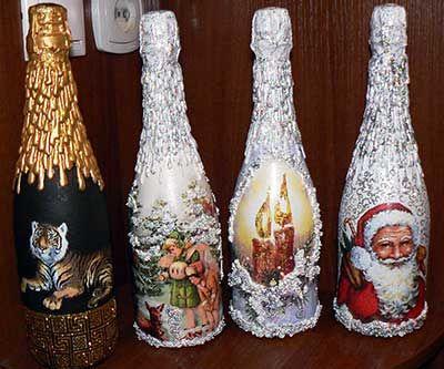 Декупаж новогодних бутылок, декупаж новогодних бутылок шампанского, мастер класс декупаж бутылок новогодних,