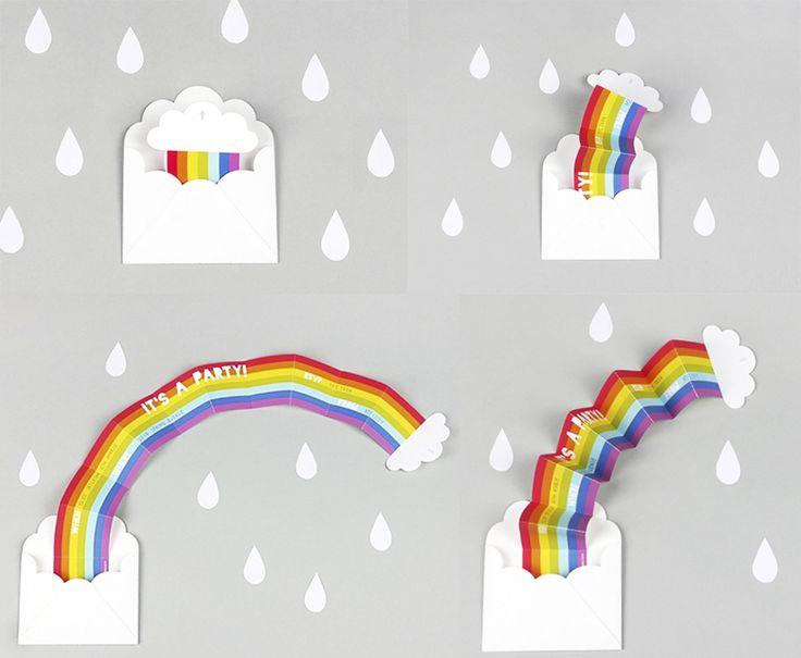 Invitación fiesta arco iris