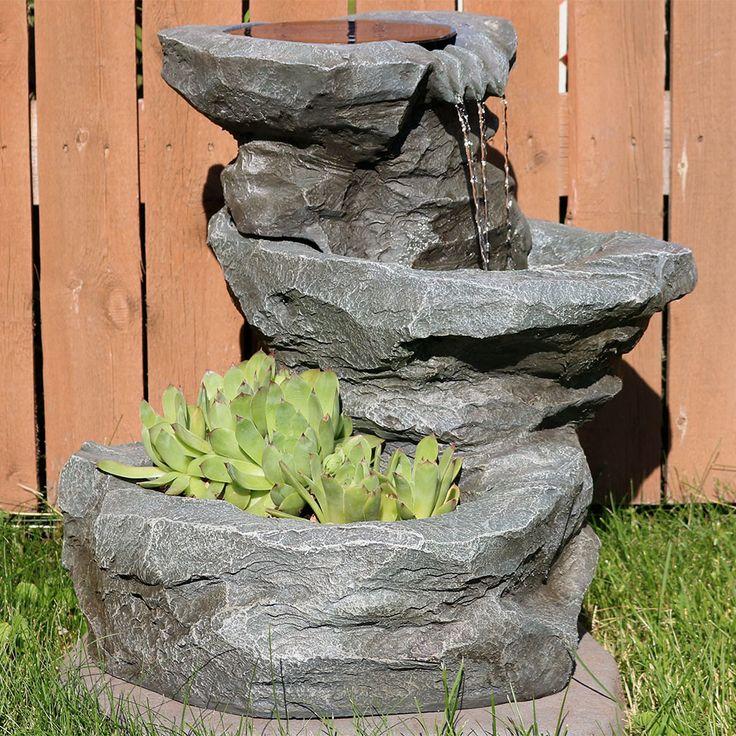 Sunnydaze Solar Garden Outdoor Water Fountain with Planter ...