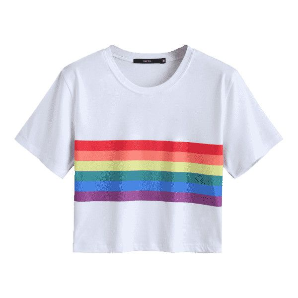 Rainbow Striped Crop Tee ($30) ❤ liked on Polyvore featuring tops, t-shirts, cut-out crop tops, white tee, white top, crop t shirt and crop tops