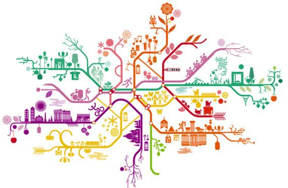 """Beautiful Paris Metro Map (The yellow line is my favorite, I can still hear the recorded voice saying """"Palais Royale, Musee de Louvre"""")"""