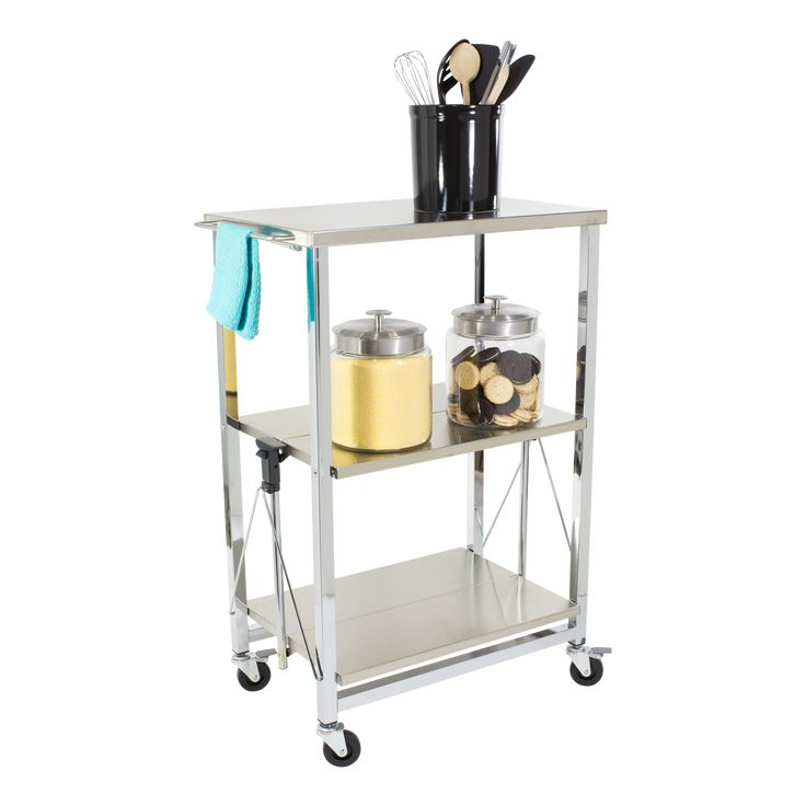 Stainless Steel Folding Kitchen Cart available from Storables.com