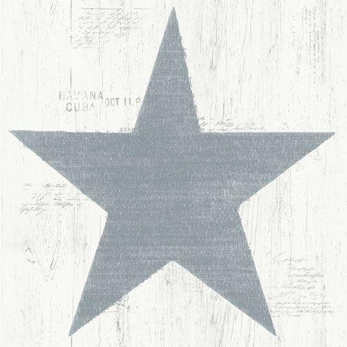 Stora blågrå stjärnor trämönstrad botten från kollektionen Hantverk, 17326- Klicka för fler fina tapeter för ditt hem!