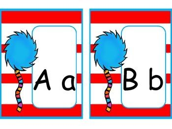This is a great FREEBIE for your Dr. Seuss classroom decor. So many options! Hang them up as an ABC line. Use them for your word wall. Great for organizing your library in ABC order! I hope you enjoy this freebie. Check out my store for even more Dr. Seuss themed classroom material. Follow my store for first peek at new products and updates! Enjoy and happy teaching!