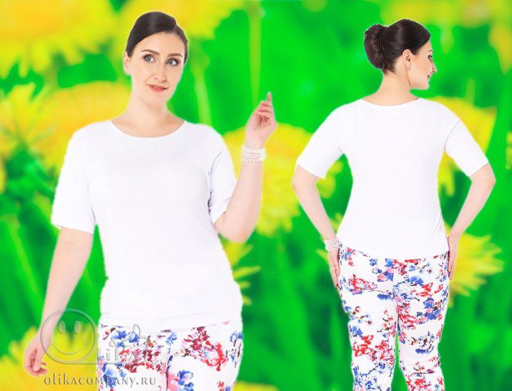 Блуза Жасмин 001 белая большого размера облегающая.  Базовая блуза для полных девушек и женщин.   Размер 52-64 Цена 1800 руб   Лайк 💝, если нравится!