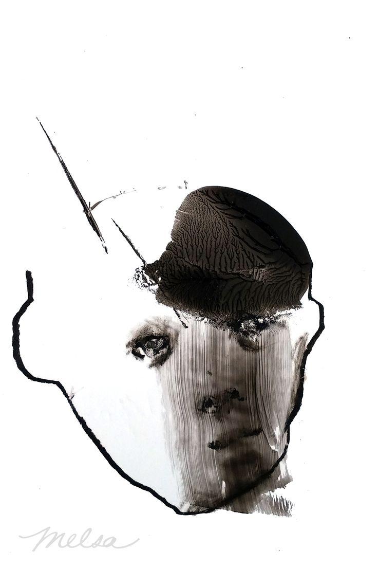 Melsa Montagne, La mesure de sa raison, 4x6 po, acrylique et pastel sur papier, 2016 -