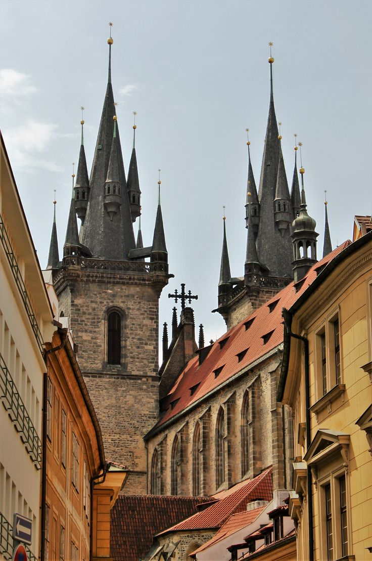 Famous towers of Church of our Lady before Tyn in Prague.