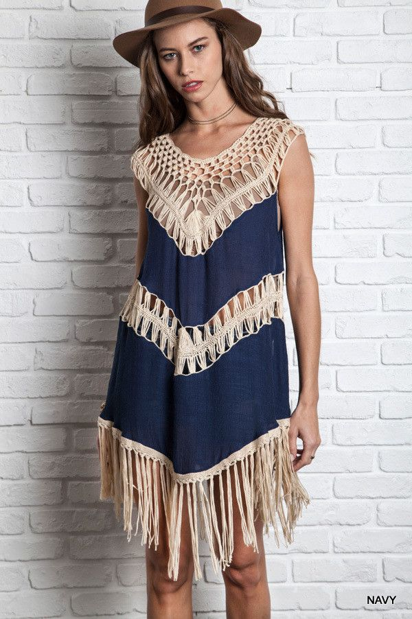 Crochet Fringe Tank Dress - Navy