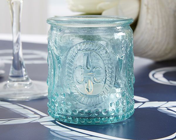 Vintage Look Aqua Blue Embossed Glass Tea Light Holders - Affordable Elegance Bridal -