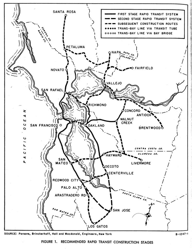 BART: Recommended Rapid Transit Construction Stages (1957