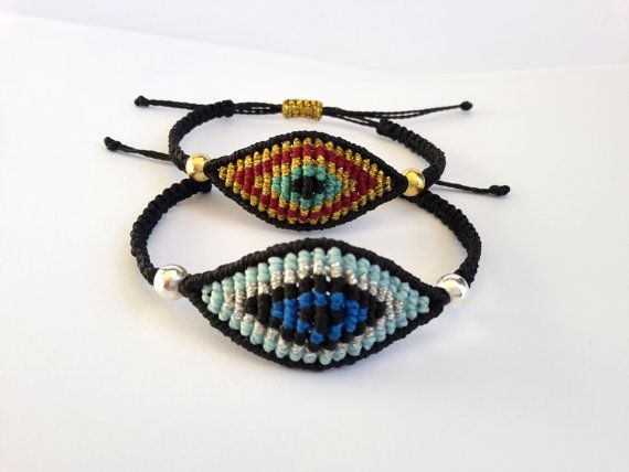 Evil Eye Macrame BraceletMicromacrame Jewerly by MACRANI on Etsy