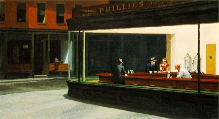 """""""Nighthawks"""" by Edward Hopper (1942.)  My all-time favorite!  This painting was my """"inspiration palette"""" for the kitchen and downstairs living area."""