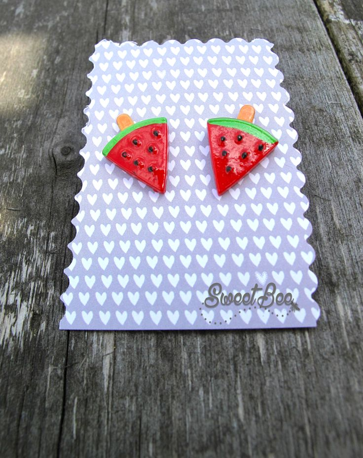 Watermelon Earrings  Available at:  Sweet Bee https://www.etsy.com/uk/shop/SweetBeeGift