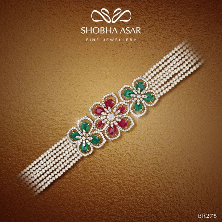 #ShobhaAsar presents another #beauty from its #Floral collection  #ShobhaAsarJewellery #bracelet #flowers #pearls #diamonds #wedding
