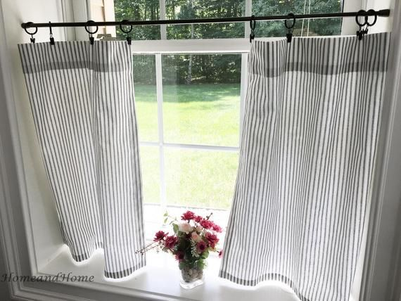 Ticking Stripe Curtain Panels Black and White Stripe Curtains Window Treatments Kitchen Farmhouse Country Drapery Custom Drapes Valance