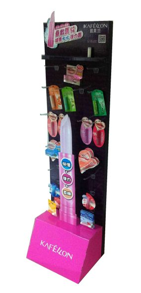 POP Cosmetic display stand, make up display with hooks for lipstick