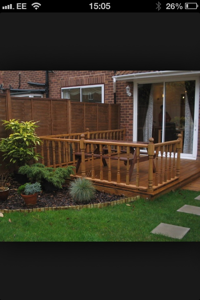 Decking Designs Small Gardens Part - 30: Inspirations For Simple Mahogany Garden Decking Ideas