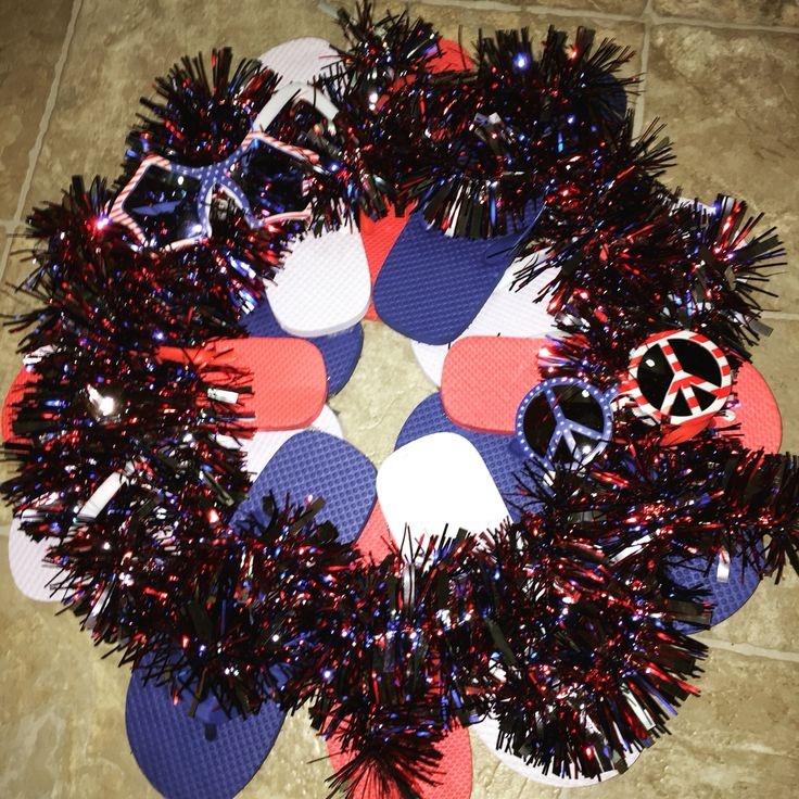 I just made my summer flip-flop wreath with a patriotic theme!