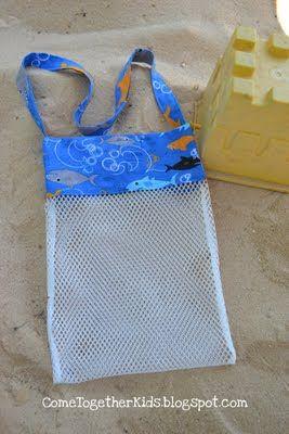 Seashell collecting bag tutorial