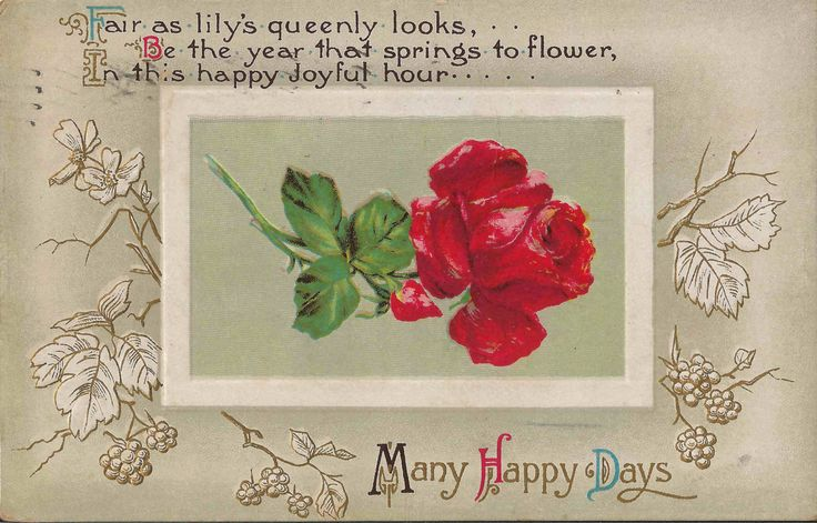 Antique 1912 Best Wishes or Many Happy Days Postcard With Lovely Poem on Front of Card as Well as a Beautiful Embossed Red Rose Blossom by StructureandSpice on Etsy