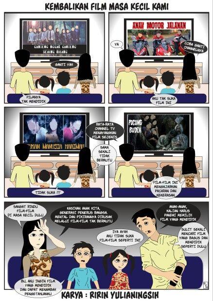 """Komik strip oleh Ririn Yulianingsih dengan tema """"Film"""" untuk edisi April 2016 Dapat ide mendadak, kebetulan lagi niat *meski tugas akhir menunggu untuk dikerjakan, kerjakan, fokus, & selesai dalam 5 jam."""