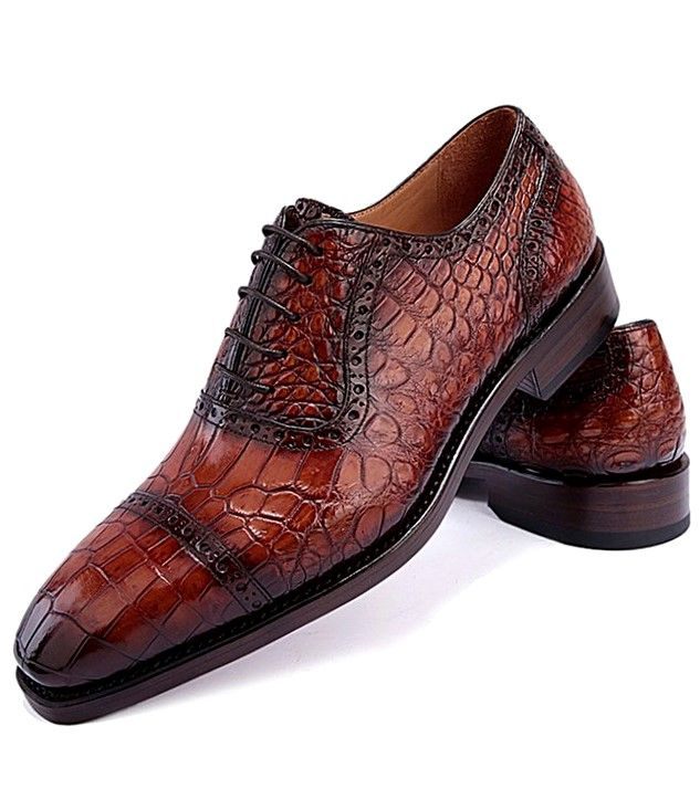 BRUCEGAO Alligator Leather Cap Toe Shoes
