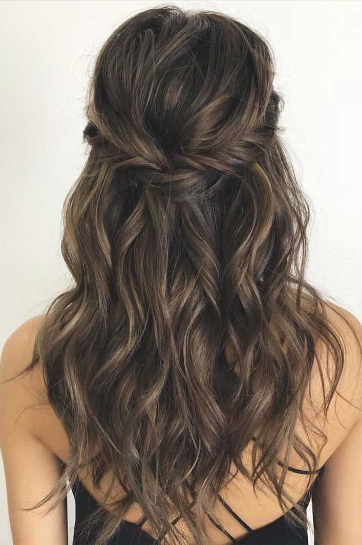 43 Gorgeous Half Up Half Down Hairstyles That Perfect For A Rustic Wedding Medium Brunette Hair Hair Styles Wedding Hair Half