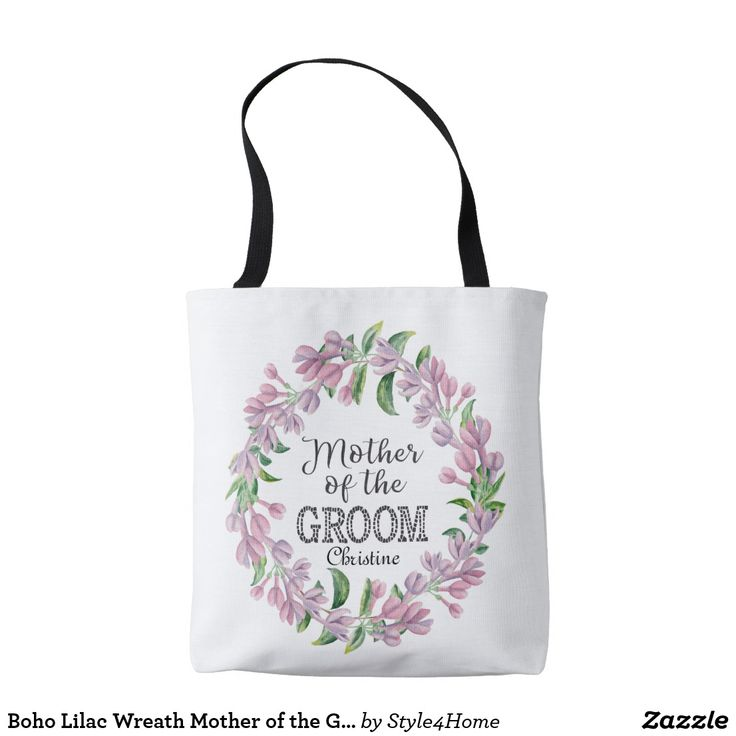 Boho Lilac Wreath Mother of the GROOM Typography Tote Bag