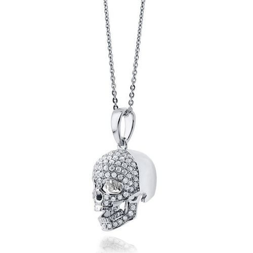 Sterling Silver CZ Skull Pendant and Chain
