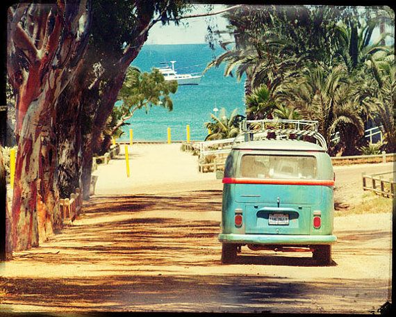 VW Bus Retro Photography Retro VW Art Sea and by LafayettePlace