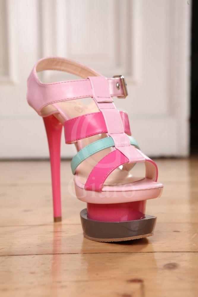 pink and grey stilleos   ... UK 6 EU 39 Pink Strappy High Heel Grey Platform Stiletto Shoes   eBay