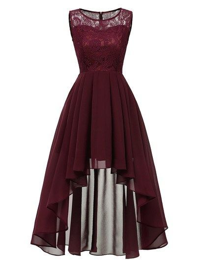 50s Contrast Lace Dip Hem Dress