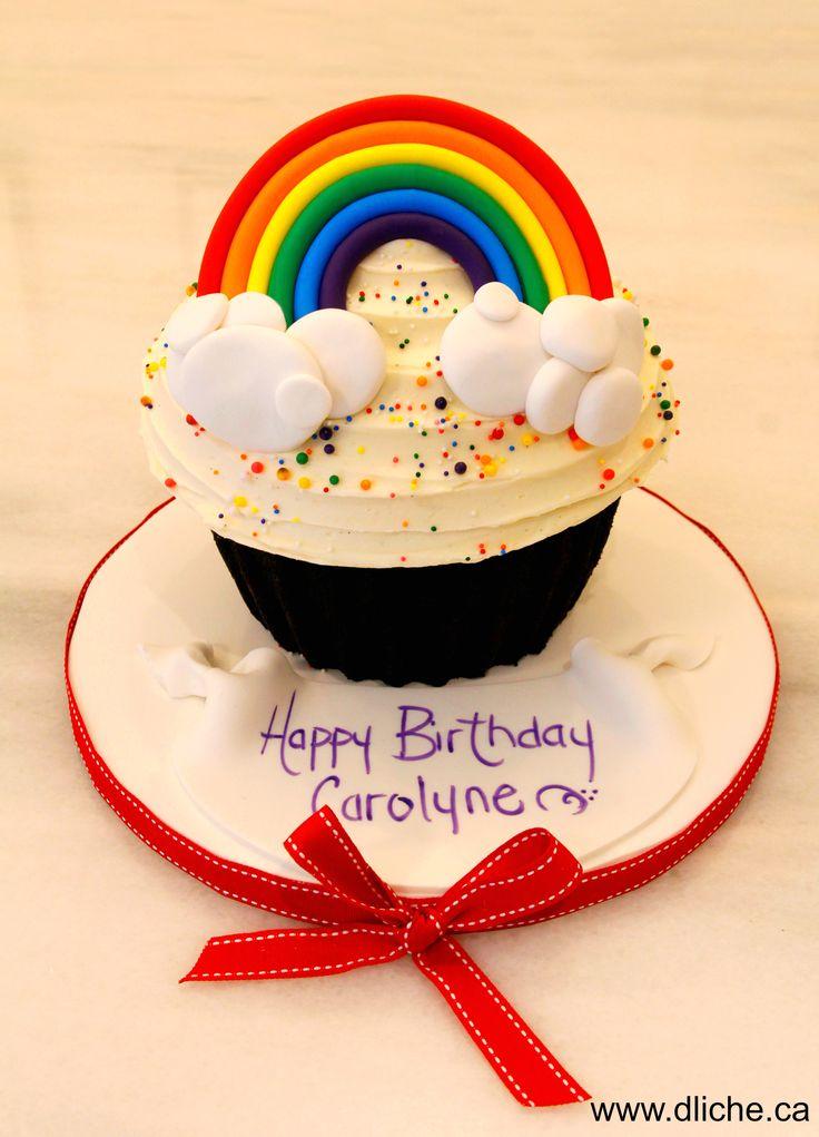 Rainbow giant cupcake!  Géant cupcake arc-en-ciel!