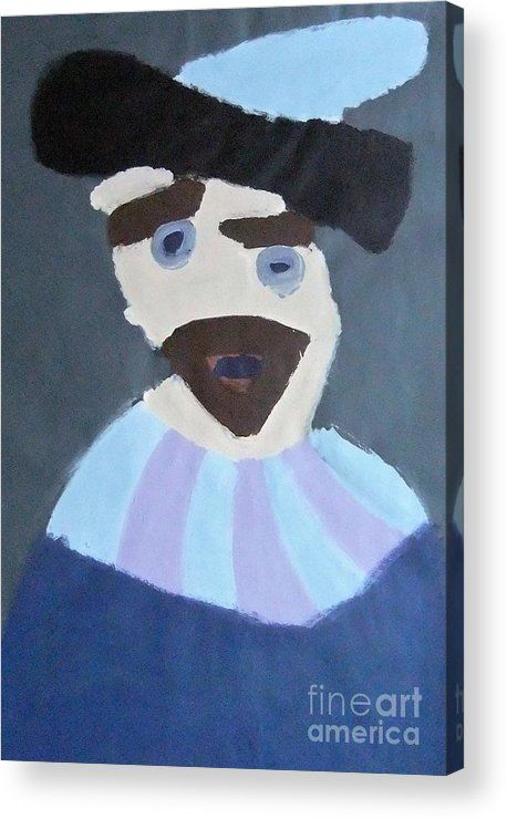 Patrick Francis Acrylic Print featuring the painting Young Rembrandt In A Plumed Hat 2014 - After Rembrandt by Patrick Francis