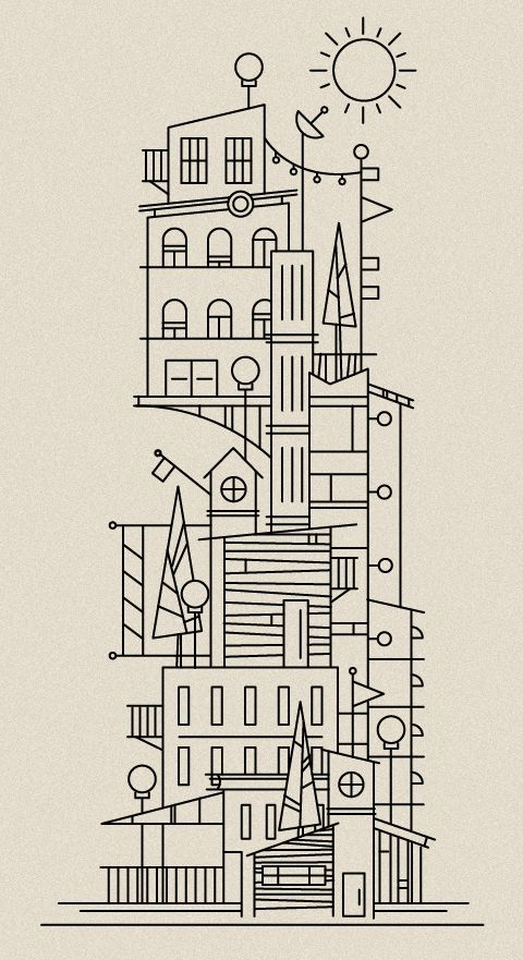 Might just build a house like this...    Illustrator: Scott Hill - http://www.foundrycollective.com