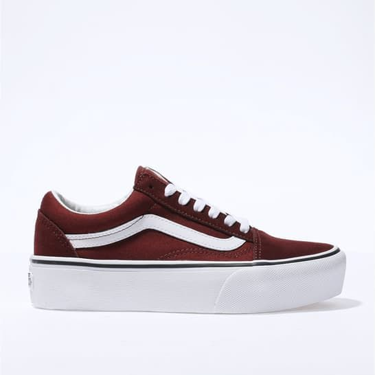 womens burgundy vans old skool platform trainers | schuh