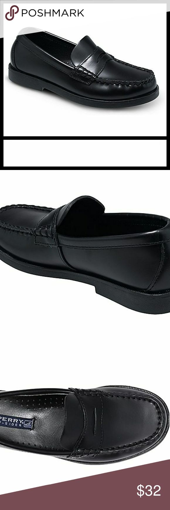 Black Leather Pennyloafer Colton Boat Shoe From Sperry site: SPERRY TOP-SIDER COLTON PENNY LOAFER (TODDLER/LITTLE KID/BIG KID)  Color:Black Leather  Rubber sole Traditional penny loafer featuring moc-toe stitching and keeper Grippy outsoleLeather Heel measures approximately 1″  Worn once Sperry Top-Sider Shoes Dress Shoes