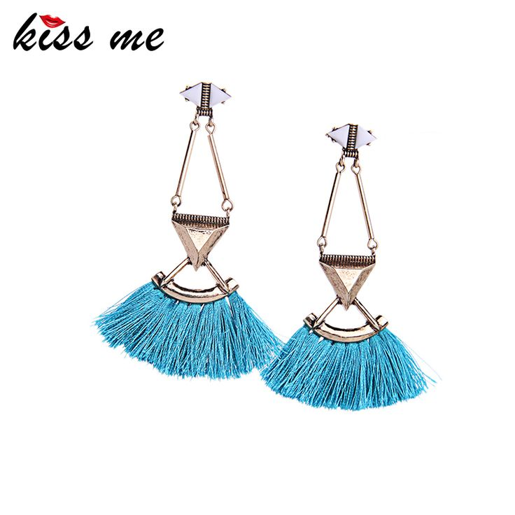 Kiss Me Brand Red Blue Rope Tassel Earrings Fashion Jewelry Ethnic Women Accessories Dangle Earrings