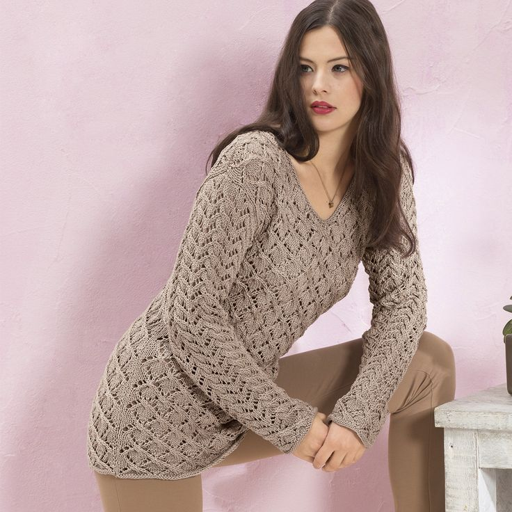 Пуловер с двумя ажурными узорами - схема вязания спицами. Вяжем Пуловеры на Verena.ru