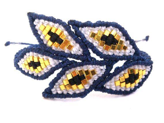 Macrame Bracelet/Evil Eye Bracelet/Micromacrame Jewelry by MACRANI