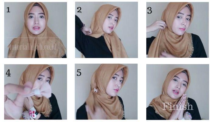 2 Tutorial Hijab Praktis memakai Jilbab Paris Segi Empat