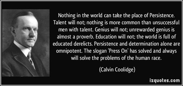 Calvin Coolidge quote about persistence.
