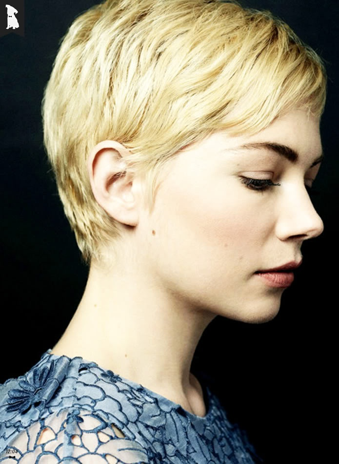 12:04: Michelle Williams Has A Beautiful Profile. Her Pixie Hair Cut Really Suits Her Gamine Face